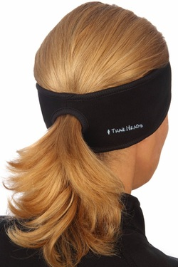 wide black running headband with ponytail hole